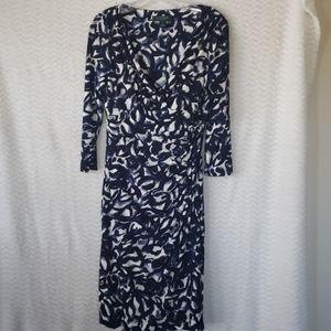 Ralph Lauren Bue and White long sleeve dress